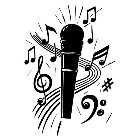 Microphone and music notes  vector silhouette Vettoriali