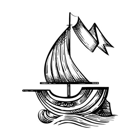 Vector drawing of sailing ship stylized as engraving. Vettoriali
