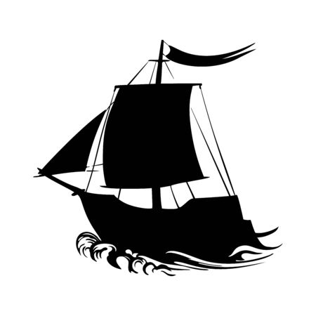 Sailing ship silhouette pirate boat and sea on a white background vector