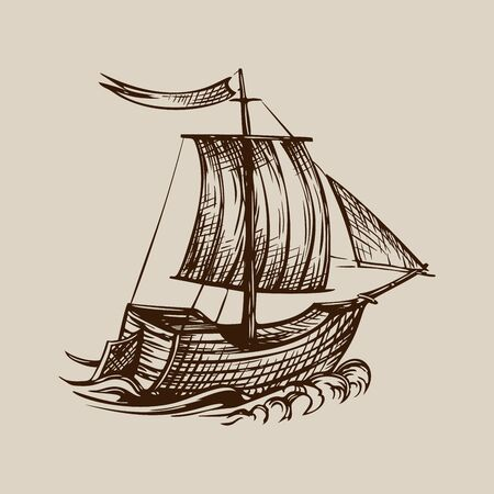 Vector drawing of sailing ship stylized as engraving on a beige background