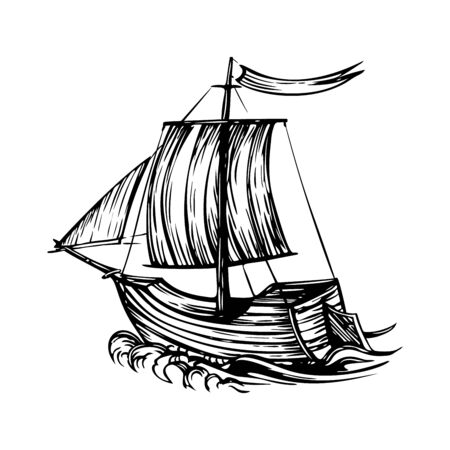 Vintage sailboat ship with sails and sea on a white background Ilustrace