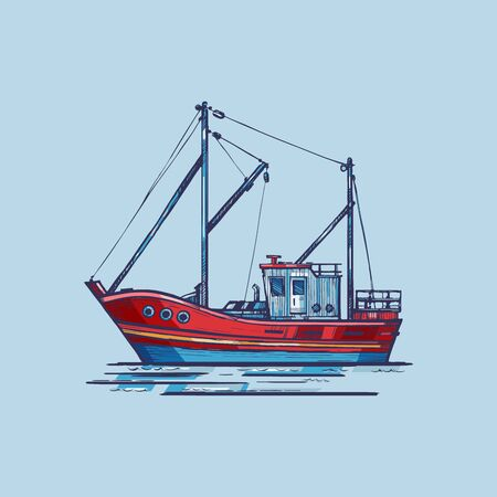 Fishing boat with blue background.