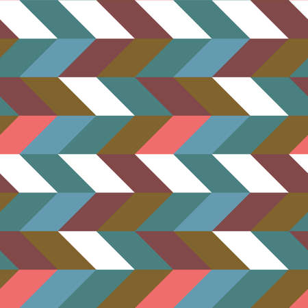 Abstract retro colorful parallelogram seamless pattern. The geometric figures form horizontal set stripes