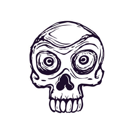Drawing of a stylized skull on a white background