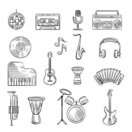 Music items icons set. Hand drawn sketch with notes, instruments, guitar, headphone, drums, music player Archivio Fotografico - 155838672