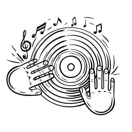 Vinyl record and musical notes.Disc with dj hand vector sketch icon isolated on background