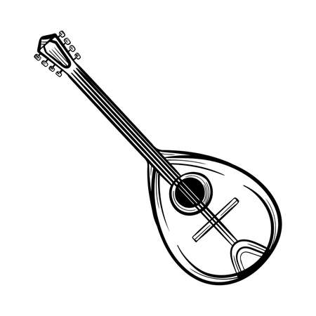 Mandolin, vintage engraved illustration stylized graphic arts hand drawn vector sketch
