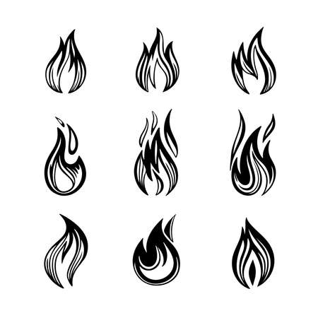 Vector illustrations of fires icon set of monochrome signs in ink hand drawing Vettoriali