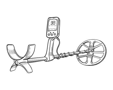 metal detector hand drawing vector sketch