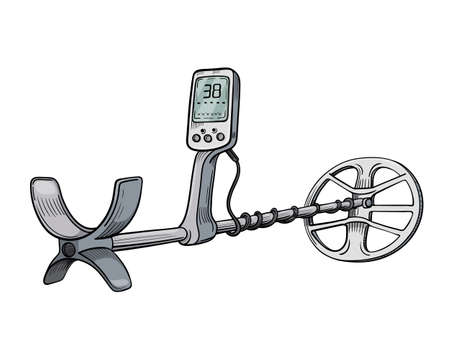 Metal detector isolated on white background for web and printing