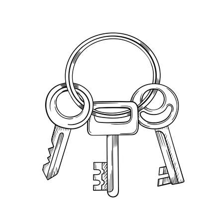Keys cartoon vector and illustration black and white hand drawn sketch style isolated on white background