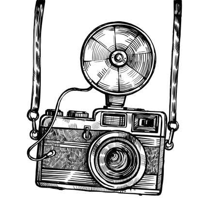 Retro camera with flash vintage vector sketch