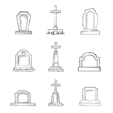 Vector set of sketch Cemetery stone tombstones