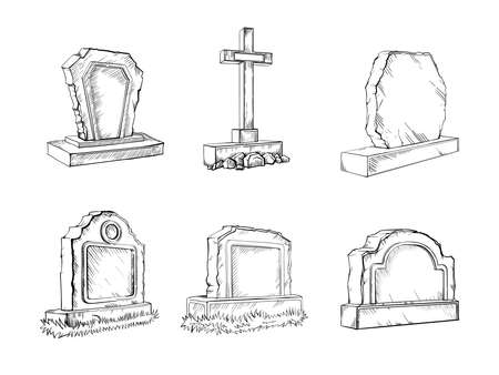 Stone tombstones sketch set gravestone illustration, drawing, engraving, ink, line art, vector Ilustrace