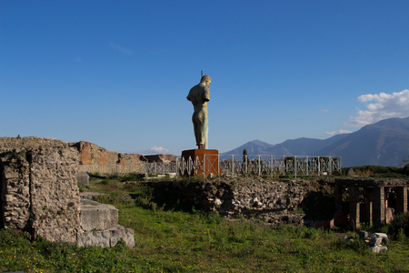 Pompeii is an ancient  buried in 79 AD. from the eruption of Vesuvius Banque d'images