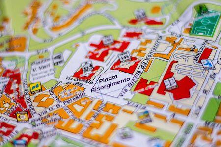 Piazza Risorgimento on the map of Benevento in Campania