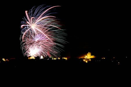 the fireworks show at the village festival in the summer
