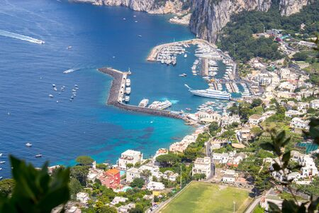 Top view of the Isle of Capri in Italy