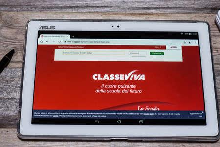 Classeviva. Access to the website via Asus tablet Editöryel