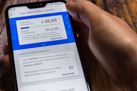 Cashback screen of the Bancoposta App of Poste Italiane with Postepay card. Transactions 2021