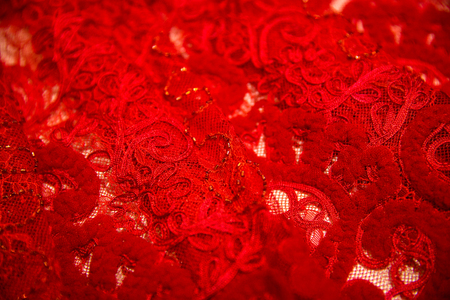 Red fabric with lace, Lying on the table, background, Lace