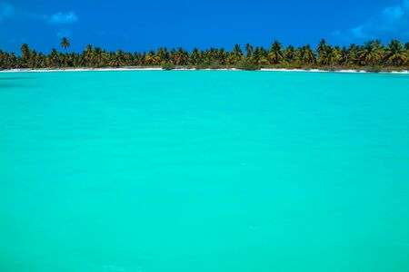 Lagoon with turquoise water on an island in the caribbean sea. Tropical Saona island in the Caribbean, tropical Paradise, turquoise sea, Dominican Republic. Stock Photo