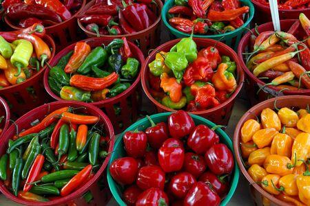 Ecologic, natural cultivated vegetables. Organic, fresh hot pepper. Ecologic natural vegetable background. Banco de Imagens