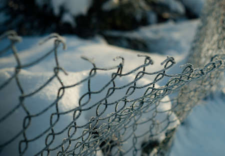 Frozen Fence Metal Mesh Snowy Hoarfrost, winter day. Winter snow texture Snow on Abstract Chainlink Fence Reklamní fotografie