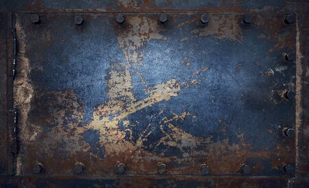 Horizontal panoramic design on metal steel brutal texture for pattern and background.