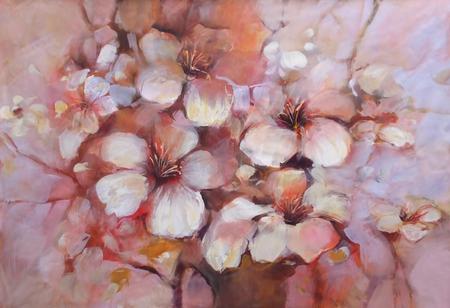Amandelen bloeien handgemaakte olieverf op doek