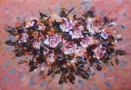 white roses: White roses ,handmade oil painting