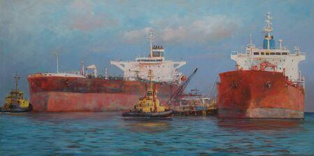 tanker: Tanker ships, classic handmade oil painting