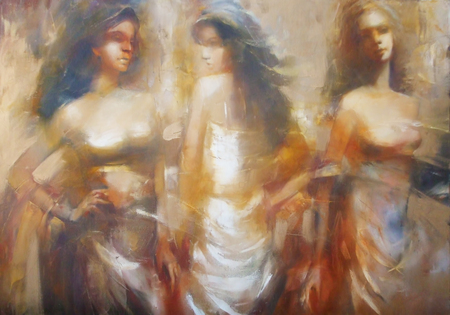 painting style: Female figures handmade oil painting on canvas