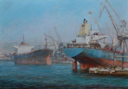 tanker: Tanker ships, classic handmade oil painting on canvas Stock Photo