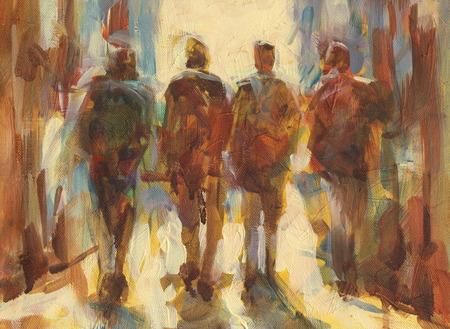 la gente que camina a mano la pintura al óleo sobre lienzo