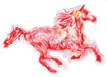 flames background: red horse running , High Texture chemical reaction hand made painting