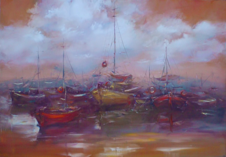 harbor: boats moored in the harbor  , handmade oil painting on canvas