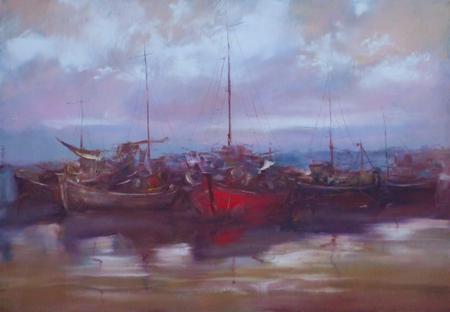 boten afgemeerd in de haven, handgemaakte olieverf op doek