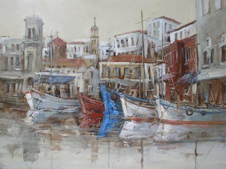 holydays: Hydra island, handmade oil painting on canvas