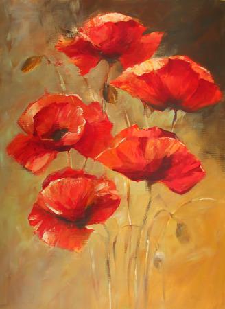 ケシの花ハンドメイドの油絵キャンバスに 写真素材