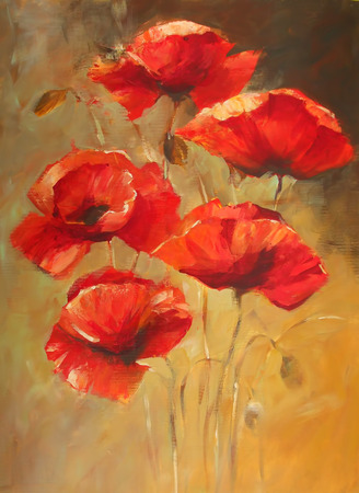 poppy flowers handmade oil  painting on canvas