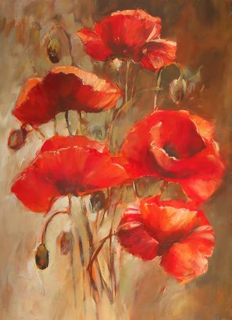 poppy flowers: poppy flowers handmade oil  painting on canvas