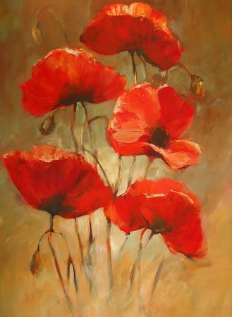 poppy bloemen handgemaakte olieverf op doek