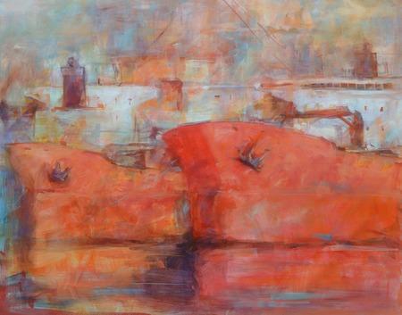 tanker: Tanker ships, modern handmade oil paintings on canvas