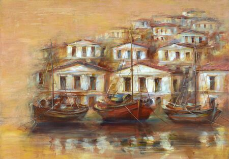 harbor: Boats on the island harbor,handmade oil painting on canvas