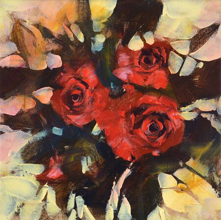 rosy: Red roses, handmade oil painting on canvas