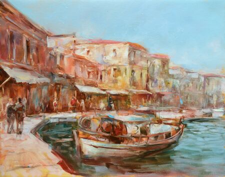 Boats on the island harbor,handmade oil painting on canvas