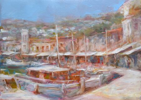 hydra: Hydra island, handmade oil painting on canvas