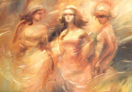 Vrouwelijke figuren handgemaakte olieverf op doek Stockfoto
