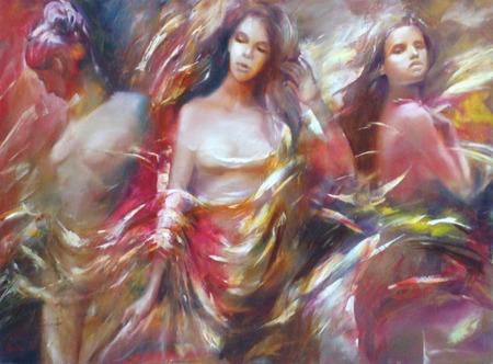 self made: Female figures handmade oil painting on canvas
